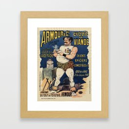 Funny vintage meat extract advertising Framed Art Print