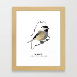 Maine – Black-Capped Chickadee Framed Art Print