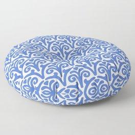 Floral Scallop Pattern Blue Floor Pillow