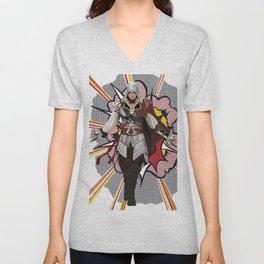 Assassisn Creed Ezio with a Roy Lichtenstein background Unisex V-Neck
