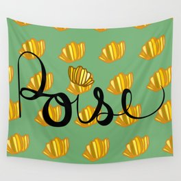 poise 1 - yellow flowers on light green Wall Tapestry