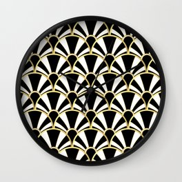Black, White and Gold Classic Art Deco Fan Pattern Wall Clock