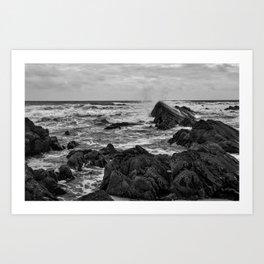 Black & White Seascape - South West Coast of England - Cornwall Art Print