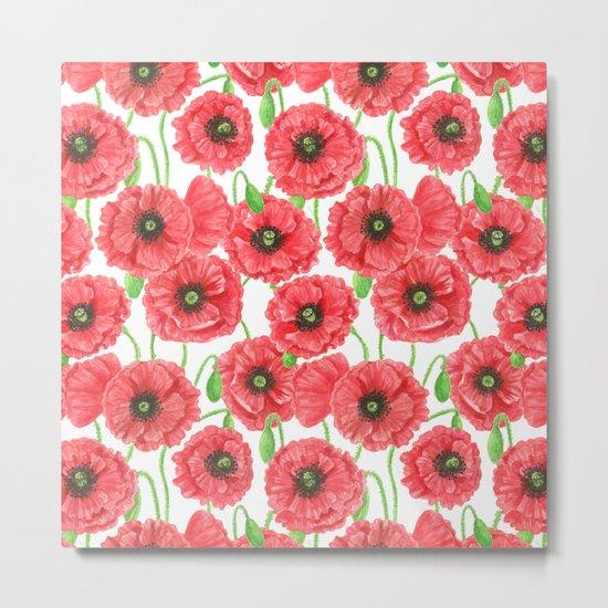 Watercolor poppies floral pattern Metal Print