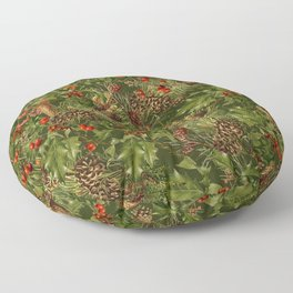 Traditional Holly Christmas Pattern Floor Pillow