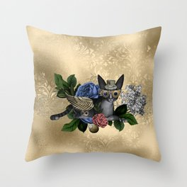 Funny steampunk cat Throw Pillow