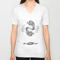 pisces V-neck T-shirts featuring Pisces by Sopta