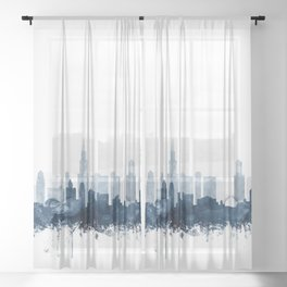 Chicago Skyline Navy Blue Watercolor by Zouzounio Art Sheer Curtain