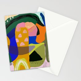 Shapes and Layers no.20 - Abstract painting olive green blue orange black Stationery Cards