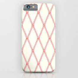 Nautical Fishing Net (Beige and Coral) iPhone Case