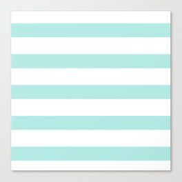 Aqua blue and White stripes lines - horizontal Canvas Print