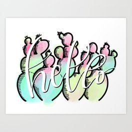 Neon Cactus - Hello Art Print