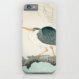 Ohara Koson, Blue Heron On Tree - Japanese Vintage Woodblock Print iPhone Case
