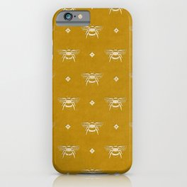 Bee Stamped Motif on Mustard Gold iPhone Case
