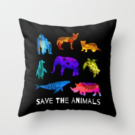 Save The Endangered Animals Throw Pillow