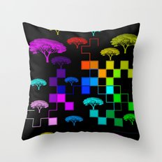 squared and trees again Throw Pillow
