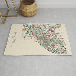 Colorful City Maps: Barcelona, Spain Rug