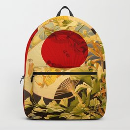 Japanese Ginkgo Hand Fan Vintage Illustration Backpack