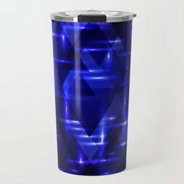 The heart of the ocean and the blue intersections on a dark background of metal. Travel Mug
