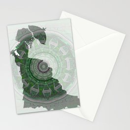 Victorian Parasol Print with Emerald Green Mandala Vortex Stationery Cards
