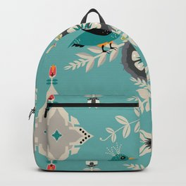Scandi Bird Floral Turquoise Backpack