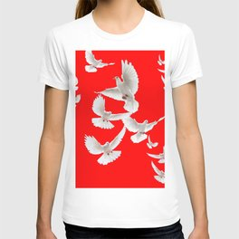 FLOCK OF WHITE PEACE DOVES ON RED COLOR T-shirt