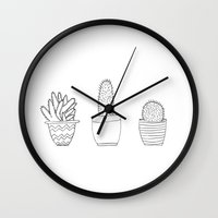cacti Wall Clocks featuring Cacti by Laurel Mae