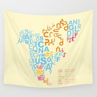 writing Wall Tapestries featuring North America ~ Writing Sistems by Stop::mashina ~Runes