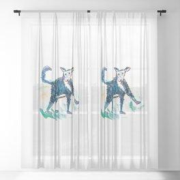 Little dog illustration Sheer Curtain