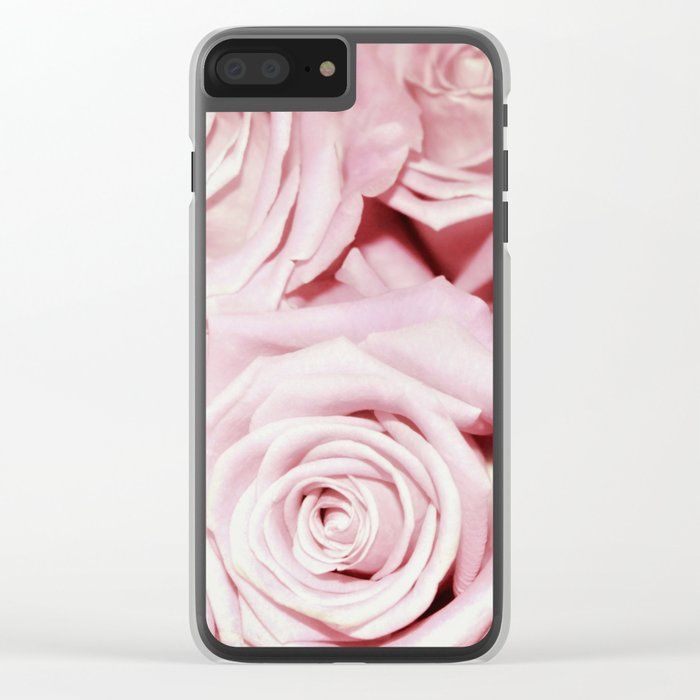 Beautiful bed of pink roses - Floral Rose Flowers Clear iPhone Case