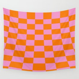 Warped perspective coloured checker board effect grid illustration orange and pink Wall Tapestry