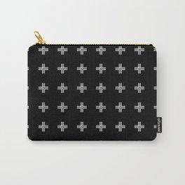 Geometric Swiss Cross Pattern (black background) Carry-All Pouch
