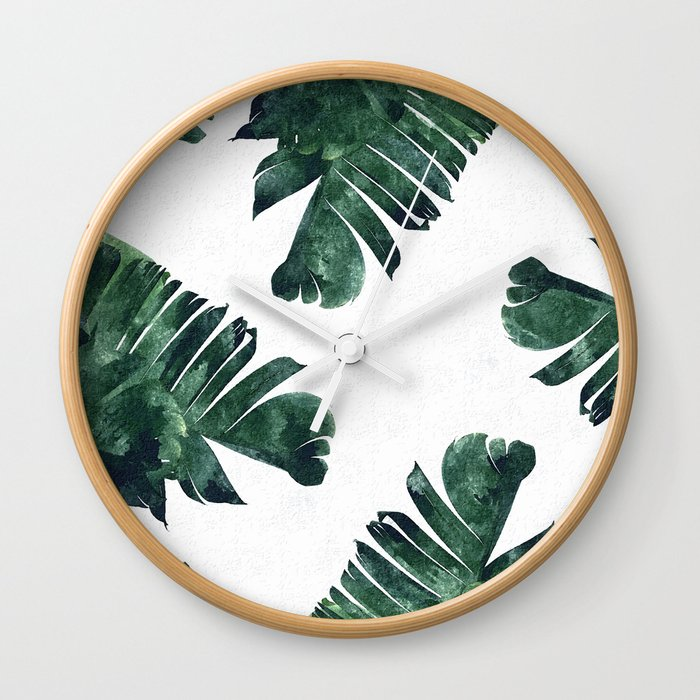 Banana Leaf Watercolor #society6 #buy #decor Wall Clock