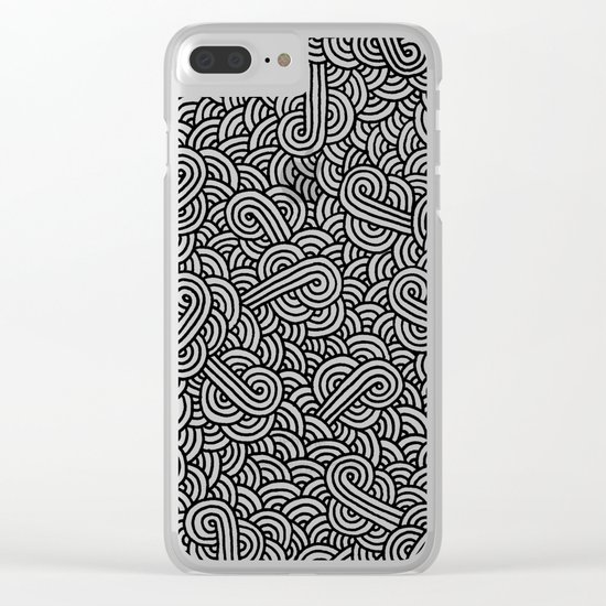 Black and white swirls doodles Clear iPhone Case