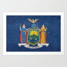 New York State Flag, vintage retro style Art Print