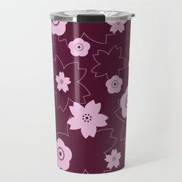 Sakura blossom - burgundy Travel Mug