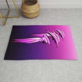 Fashion illustration of models in pink, pink to violet gradient background  Rug