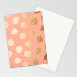 Sweet Life Polka Dots Peach Coral + Orange Sherbet Shimmer Stationery Cards