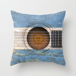 Old Vintage Acoustic Guitar with Argentine Flag Throw Pillow