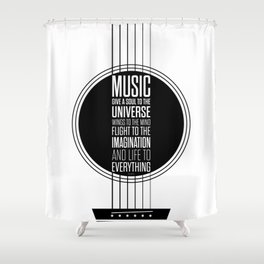 Lab No. 4 - Plato philosopher Inspirational Music Quotes  poster Shower Curtain