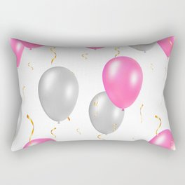 Happy party pattern, with pink, silver balloons, gold confetti. Rectangular Pillow
