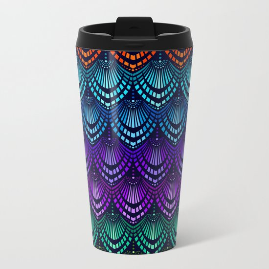 Variations on a Feather I - Deco Style Metal Travel Mug