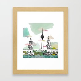 Oberbaum Brücke and TV Tower - Berlin - East/West boundary - East Side Gallery Framed Art Print