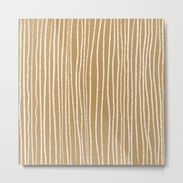earth tone chalk lines 3/4 in mustard seed Metal Print