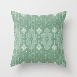 Art Deco Botanical Leaf Shapes Green Throw Pillow