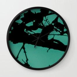 Teal Marbled Moon Wall Clock