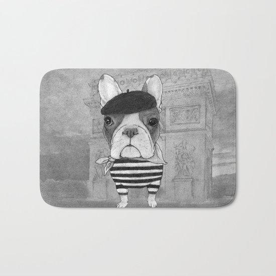 French Bulldog. (black and white version) Bath Mat
