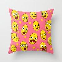 lemongrab Throw Pillows featuring Lemongrab PINK  by Stiles