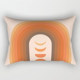 Mid Century Modern Geometric 23 (Rainbow and Moon Phases) Rectangular Pillow
