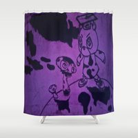 murakami Shower Curtains featuring Graduation by Jide